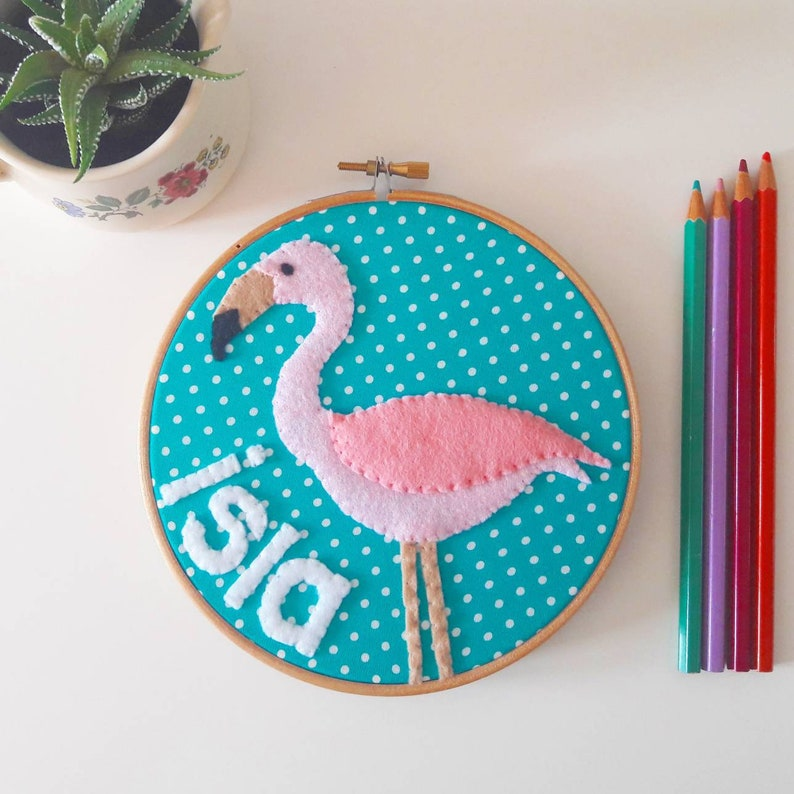 Personalised name flamingo embroidery hoop wall art  hand image 0