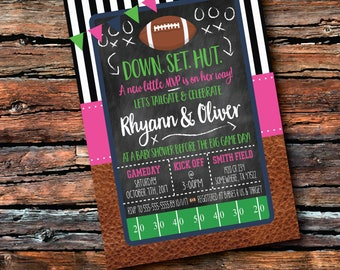 Any Color TAILGATE FOOTBALL MVP Girl Football Baseball Boy Field Chalkboard Game Day Kickoff Birthday Couple Baby Shower Sprinkle Invitation & Tailgate baby shower | Etsy