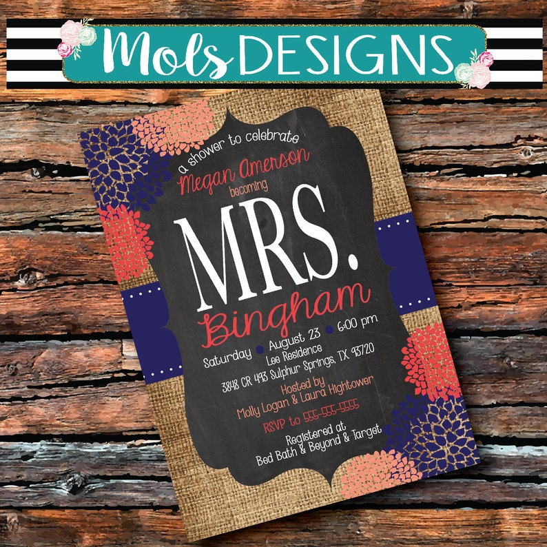 Any Color Mrs Bridal MASON JAR Vintage BURLAP Chalkboard Coral Navy Blue  White Peach Floral Wedding Brunch Tea Party Baby Shower Invitation