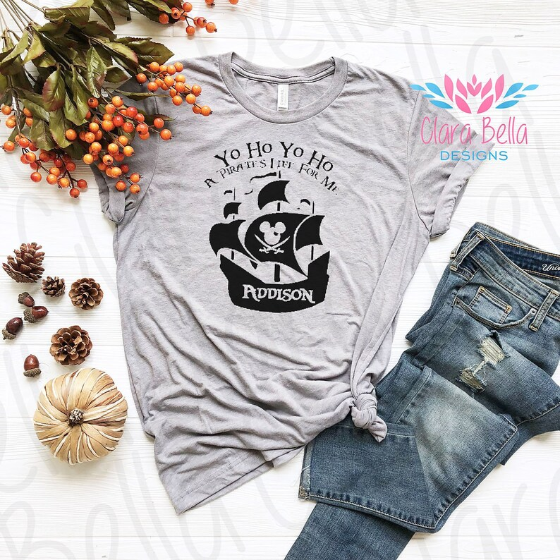638a87418 Mickey Pirate Ship Tee Yo Ho Pirate Life For Me Caribbean | Etsy
