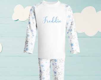Moon and stars BlueGreySilver Twinkle Twinkle Little Star Pj/'s Children/'s Nightwear Pyjamas Personalised Name