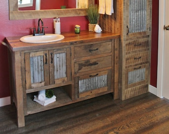 Rustic Vanity 36 Reclaimed Barn Wood Vanity W Tin Etsy