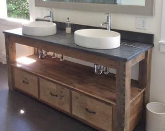 Rustic Vanity - Reclaimed Barn Wood Vanity - Farmhouse Style  #7167