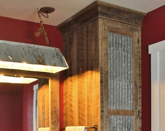 Rustic Tall Storage- Reclaimed Barn Wood Cabinet w/Tin Doors (Unfinished) #3899 & Rustic Door w/Framework Reclaimed Barn Wood w/Tin Doors