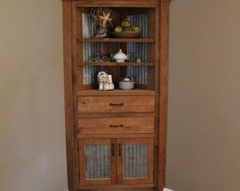 Merveilleux Rustic Corner Cabinet   Reclaimed Barn Wood W/Barn Tin #6202