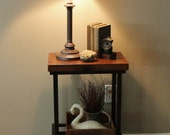READY TO SHIP - Metal Industrial Side Table (28 quot High) - Rustic Reclaimed Barn Wood Top
