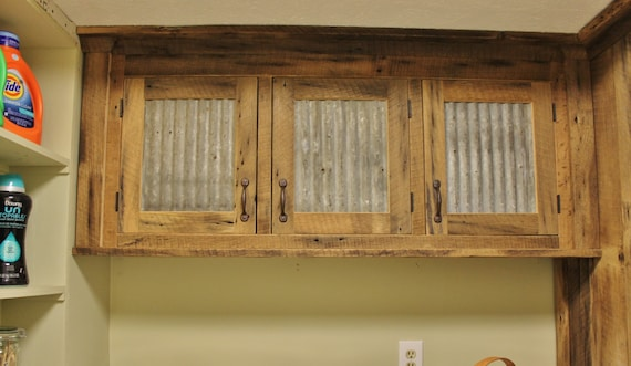 Rustic Upper Cabinet Reclaimed Barn Wood W Tin Doors Etsy