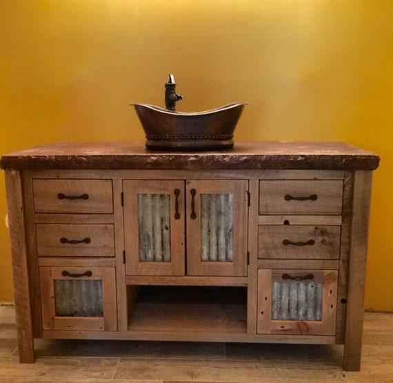 Rustic Bathroom Vanity 48 Reclaimed Barn Wood W Tin Doors 2094