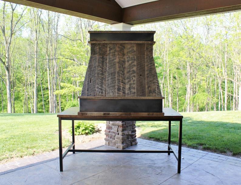 Rustic Range Hood   Reclaimed Barn Wood Range Hood W/Steel Trim #2730