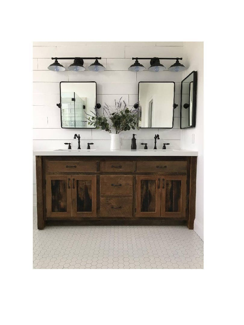 Rustic Vanity 72 Dual Sink Reclaimed Barn Wood