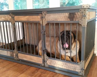 Extra Large Rustic Industrial Dog Kennel, Dog Crate - Riveted Steel Dog Kennel with Reclaimed Barn Wood #783636