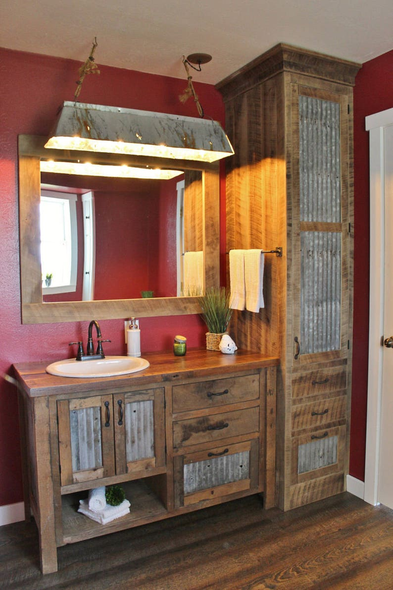 Rustic Bathroom Vanity 48  Reclaimed Barn Wood Vanity image 0