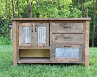 "Rustic Bathroom Vanity (48"") - Reclaimed Barn Wood Vanity w/Barn Tin #5710"