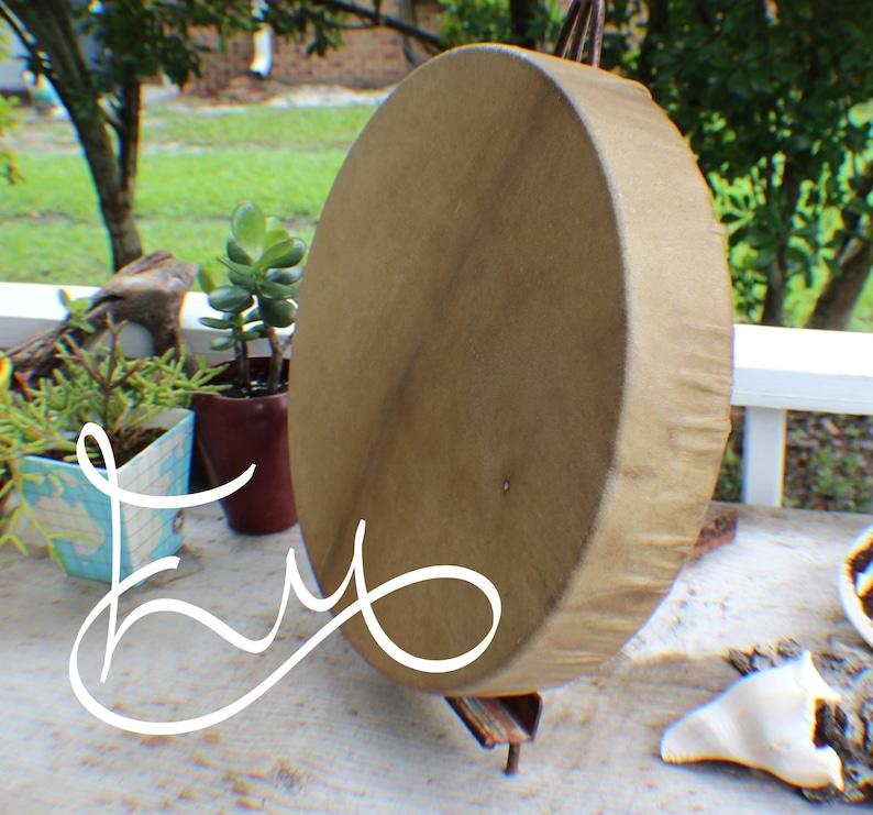 16 Elk Hide Hand Drum Native Made William Lattie image 0