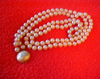 Vintage Necklace  Faux Pearls 1940's Costume Jewlery Signed   Richelieu Of N.Y. Gold Tone