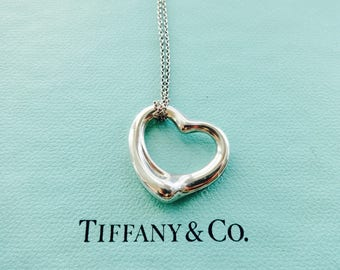 f903dca02 Authentic Tiffany & Co. Elsa Peretti Larger 22mm Open Heart Sterling Silver  Pendant Chain Necklace
