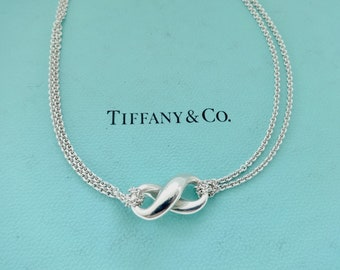 40d47ff08 Authentic Tiffany & Co. Sterling Silver Infinity Figure 8 Double Chain  Necklace, 16