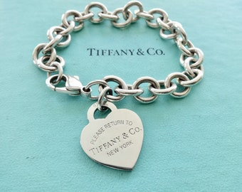 f10404837 Authentic Tiffany and Co. Sterling Silver Please Return to Tiffany Heart Tag  Link Bracelet 7.5 Inches