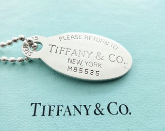 593846331 Authentic Tiffany & Co. Please Return to Tiffany Sterling Silver Large Dog  Tag Pendant Necklace, 34
