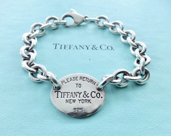 74d2c86ce Authentic Tiffany and Co. Sterling Silver Please Return to Tiffany Oval Tag  Chain Bracelet 7.25 Inches