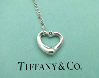 44fbd5b45 Authentic Tiffany & Co. Elsa Peretti Sterling Silver Open Heart with Pink  Sapphire Pendant Necklace