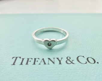 ce5cfc091 SALE! Authentic Tiffany & Co. Paloma Picasso Sterling Silver Heart Ring  with Diamond Size 5