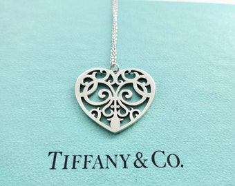 57b4f7eeeb5a Authentic Tiffany   Co. Enchant Large Heart Sterling Silver Pendant Necklace