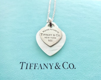 200e58798 Authentic Tiffany & Co. Please Return to Tiffany Sterling Silver and White  Mother of Pearl Heart Pendants Necklace, 18