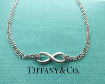 72a349374 Authentic Tiffany & Co. Sterling Silver Infinity Figure 8 Double Chain  Necklace, 16""