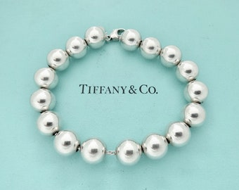 809f8cba3 Authentic Tiffany and Co 10mm Beads Bracelet Sterling Silver 10 mm Ball  Bead Bracelet
