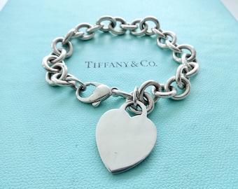 "148a9c8a8116 Authentic Tiffany and Co. Heart Bracelet Plain Heart Tag Pendant Chain Link  Bracelet 7.5"""