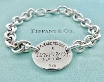 f4bda7c5c Authentic Tiffany and Co. Sterling Silver Please Return to Tiffany Oval Tag  Chain Bracelet 8 Inches