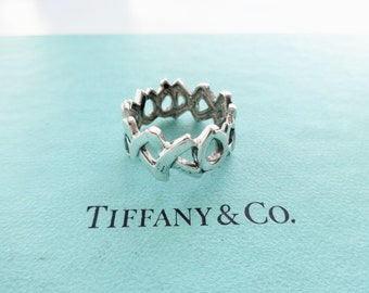 961450f16 Authentic Tiffany & Co. Paloma Picasso XO Love and Kisses Graffiti Band Ring  Sterling Silver Size 7