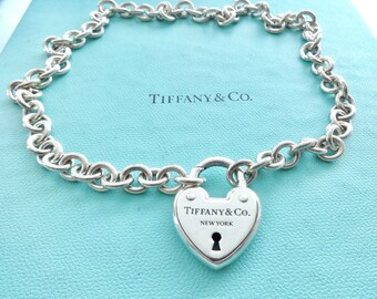 eea8b6b24 Authentic Tiffany & Co. Heart Lock Necklace Sterling Silver Medium Round  Link