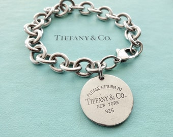 19f14f58b Authentic Tiffany and Co. Please Return to Tiffany Bracelet Sterling Silver  Round Tag Pendant Link Chain 7.5 Inches