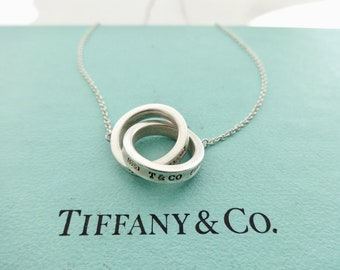 b08f844fc Authentic Tiffany and Co. 1837 Interlocking Circles Pendant Sterling Silver  Necklace 16