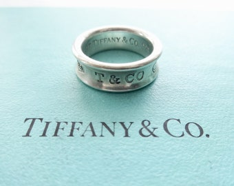 fea54af83 Authentic Tiffany & Co. Vintage 1837 T and Co 925 Concave Band Ring  Sterling Silver Size 6