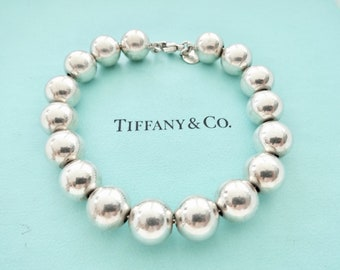 81d12e8fe Authentic Tiffany and Co 10mm Beads Bracelet Sterling Silver 10 mm Ball  Bead Bracelet
