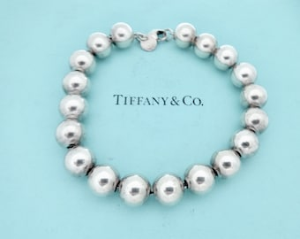 """19b31e2af Authentic Tiffany and Co. Beads Bracelet 10mm Sterling Silver Ball Bead  Bracelet Longer 8.25"""""""
