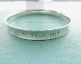 e96ccbfa5 Authentic Tiffany & Co. 1837 T Co. 925 Round Bangle Bracelet Sterling Silver