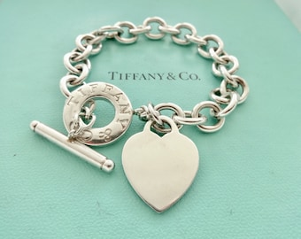 8aa14af05 Authentic Tiffany & Co. Sterling Silver Toggle Clasp Heart Pendant Link  Bracelet