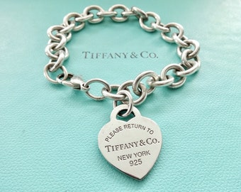 f5a74525a89 Authentic Tiffany and Co. Sterling Silver Please Return to Tiffany Heart  Tag Link Bracelet
