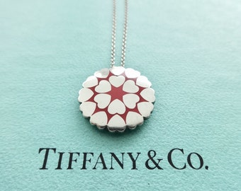 3a39a6dec Authentic Tiffany & Co. Paloma Picasso Crown of Hearts Red Enamel Sterling  Silver Round Pendant Necklace