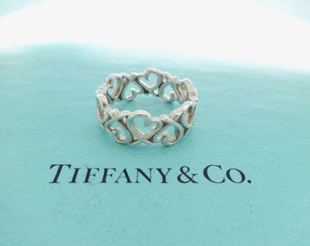 e69e7a6bc Authentic Tiffany & Co. Paloma Picasso Loving Heart Band Ring Sterling  Silver Size 6.5