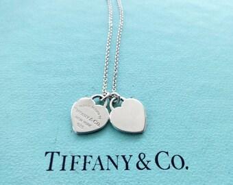 674f37f5d Authentic Tiffany & Co. Please Return to Tiffany Sterling Silver Double  Mini Hearts Pendant Necklace