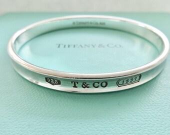 980f0b138 Authentic Tiffany & Co. 1837 Oval Bangle Bracelet Sterling Silver Bangle  Bracelet