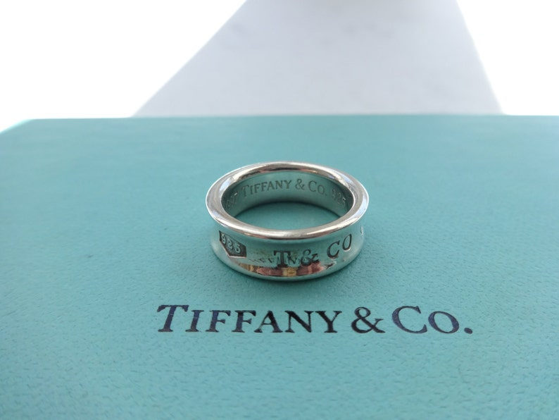 976d6b9df36ff Authentic Tiffany & Co. 1837 T Co 925 Concave Sterling Silver Band Ring  Size 6