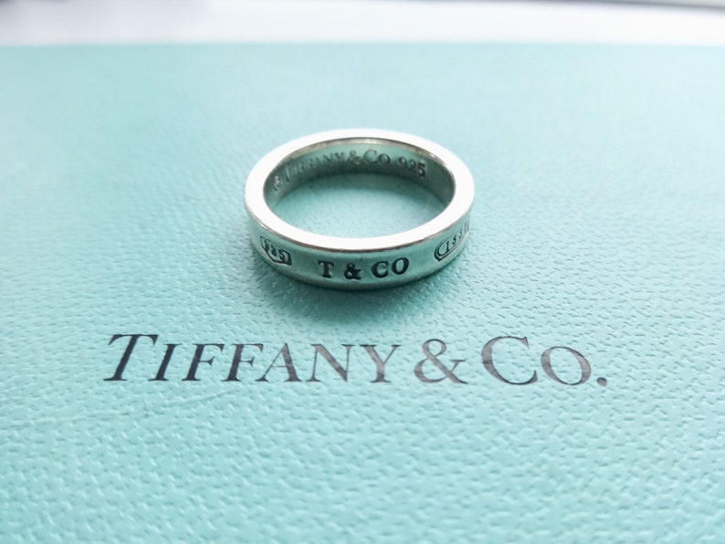 a098e2305ff69 Authentic Tiffany & Co. 1837 Concave Ring T Co 925 Sterling Silver Thin  Band Ring Size 4.5