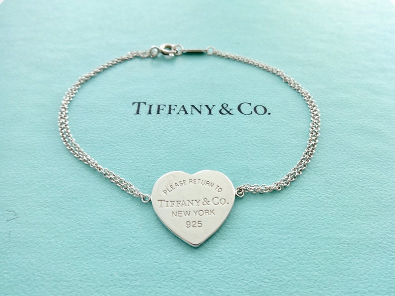 """61e8b086f7e65 SALE! Authentic Tiffany and Co. Sterling Silver Please Return to Tiffany  Heart Double Chain Bracelet 6.5"""""""