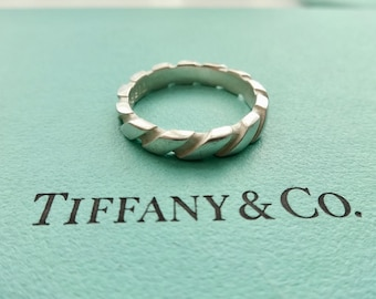 SALE!! Authentic Tiffany & Co. Atlas Swirl Band Ring Sterling Silver Size 6.5